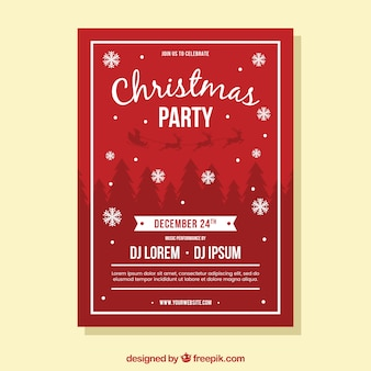 Classic christmas party poster template