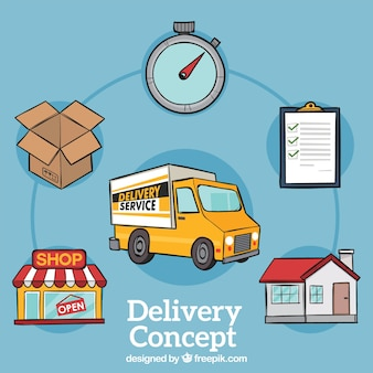Classic delivery concept with hand drawn style