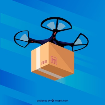 Classic delivery drone with flat design