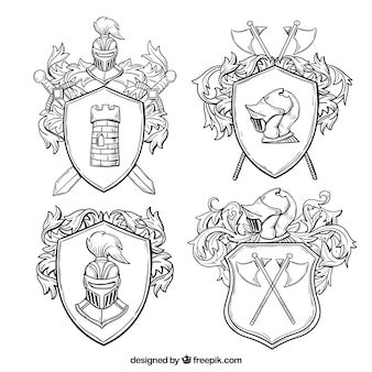 Classic emblems of knights