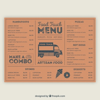 Classic food truck menu with hand drawn style