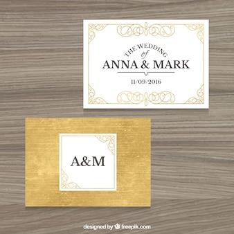 Classic golden wedding invitation
