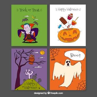 Classic halloween cards with funny style