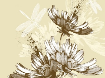 Classic hand painting art flower background