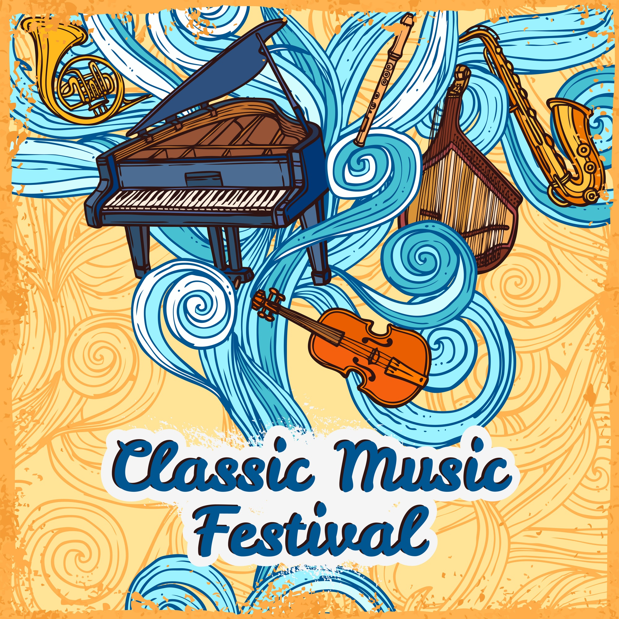 Classic music festival poster with piano violin trumpet instruments vector illustration