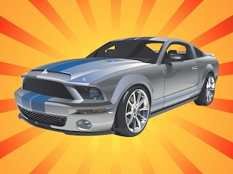 Classic Mustang car riding vector
