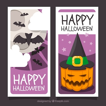 Classic pack of flat halloween banners