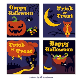 Classic pack of flat halloween cards