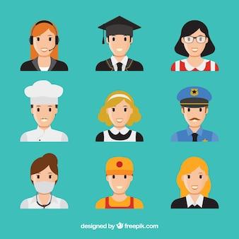 Classic pack of professionals avatars