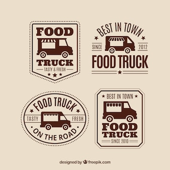 Classic pack of vintage food truck logos