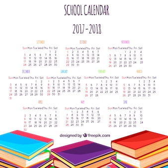 Classic school calendar with piles of books