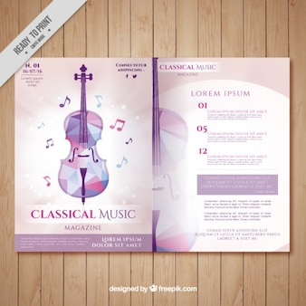 Classical music magazine with geometric violin