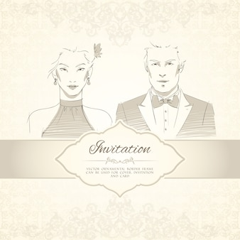 Classical wedding invitation card with man and woman portraits vector illustration
