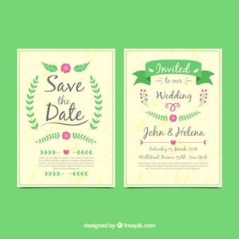 フラットデザインの古典的な結婚式招待状