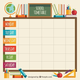 Classroom elements with school timetable