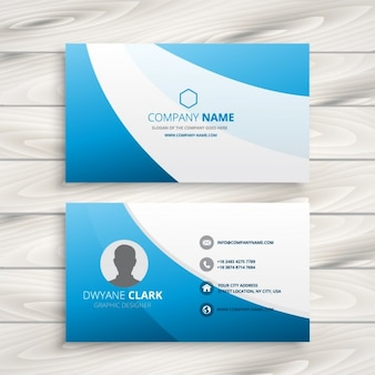 Clean business card with blue waves