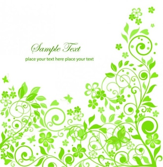 Clean green flowers vector illustration