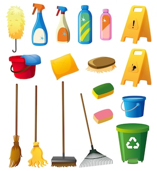 Cleaning equipments on white background