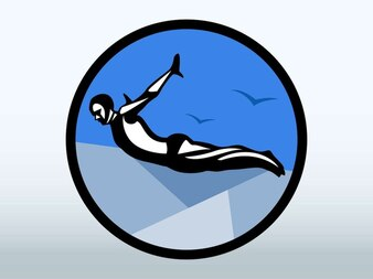 Cliff extreme diving vector logo