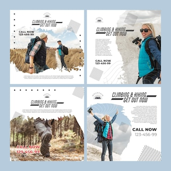 Climbing instagram posts template with photo