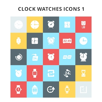 Clock and watches icons set