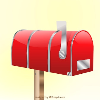 Closed red mailbox background