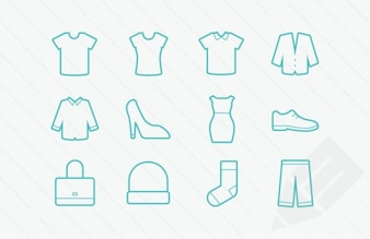 Clothing icons vector glyphs