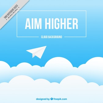 Cloud background with paper plane