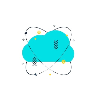 Cloud computing flat line illustration