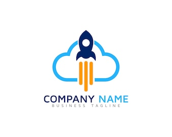 Cloud logo with rocket