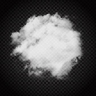 暗い透明の背景に雲や煙