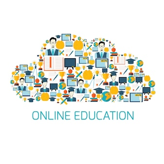 Cloud-shaped background of digital education items