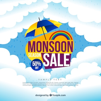 Clouds sales monsoon background with umbrella