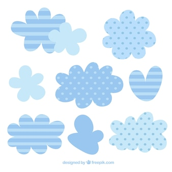 Clouds with cute stripes and polka dots