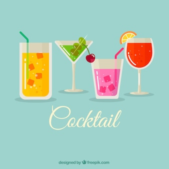 Cocktail background in flat design