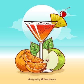 Cocktail background with fruits