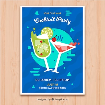 Cocktail party brochure in flat design