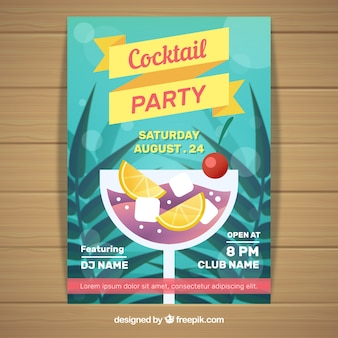 Cocktail party leaflet with palm leaves