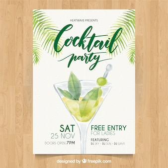 Cocktail party watercolor brochure