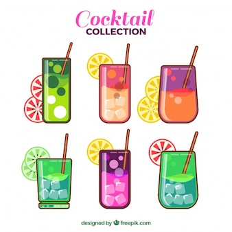 Cocktail with ice set