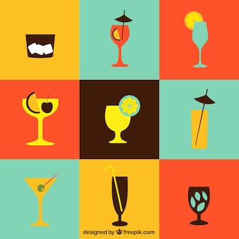 Cocktails icons collection