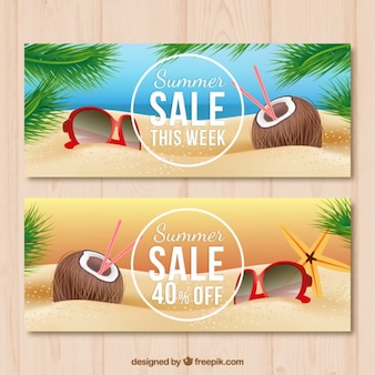 Coconut on the beach sale banners