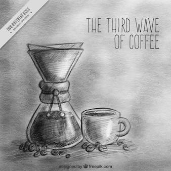 レトロなスタイルでコーヒーの背景