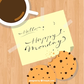 Coffee background with cookies and happy monday note
