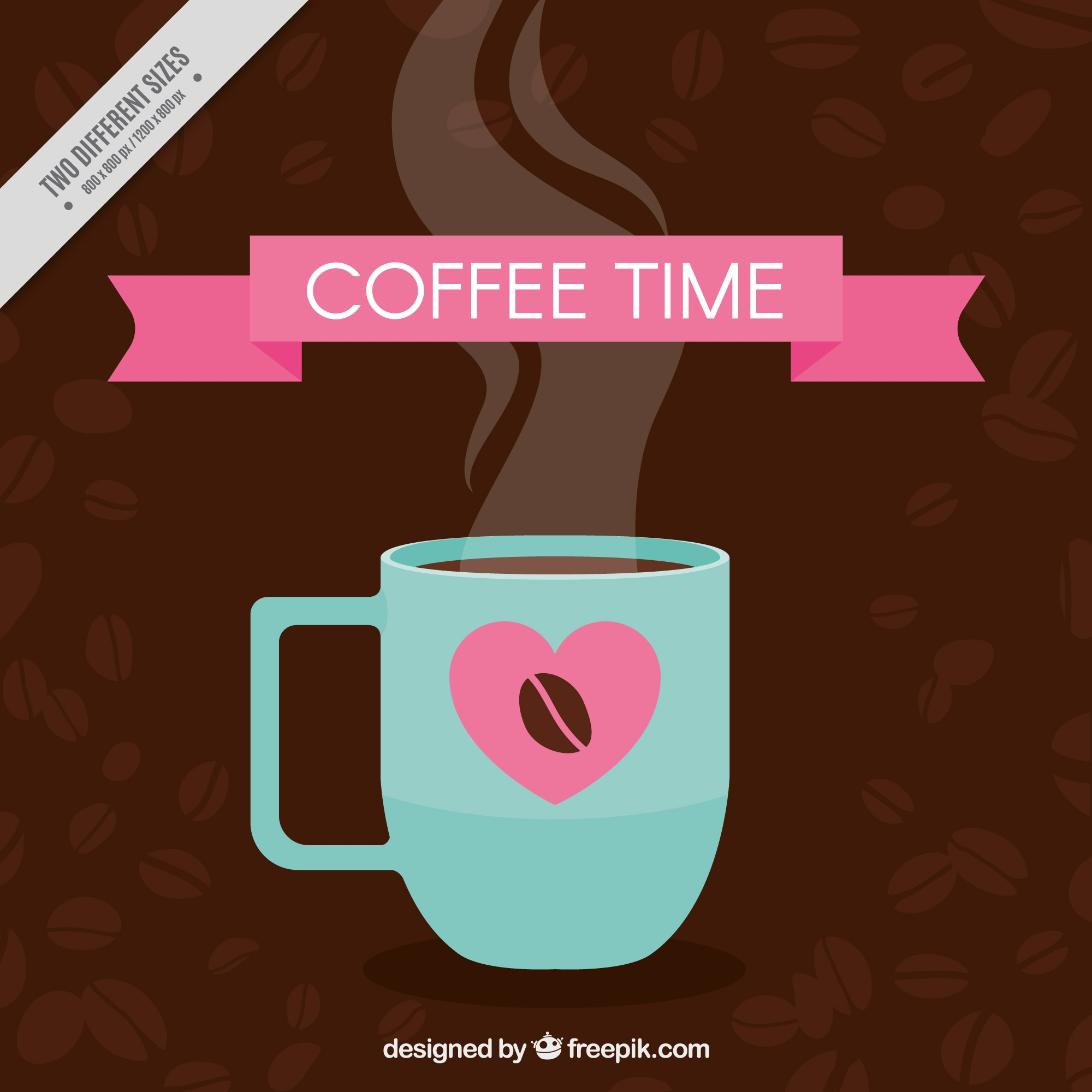 Coffee background with cup and pink elements