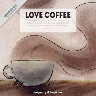 Coffee background with mug in watercolor style