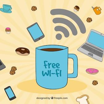 コーヒーカップの背景と無料の無線LAN
