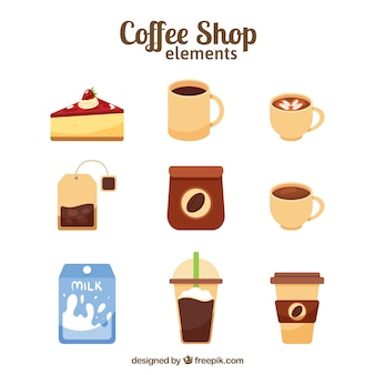 Coffee elements in flat design