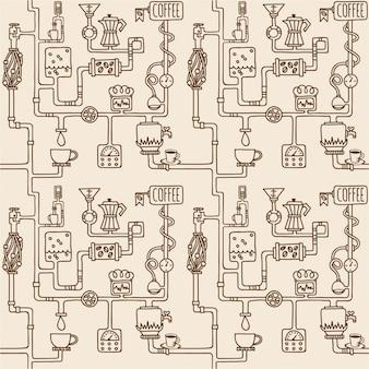 コーヒー工場のシームレスなパターン