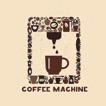 Coffee machine made of coffee icons